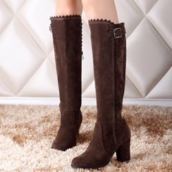 Was And Now - Shoespie Plain Round Toe Buckle Block Heel Knee High Boots