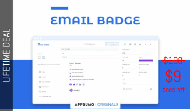 WAS AND NOW - EmailBadge Lifetime Deal for $9 WAS $100.00