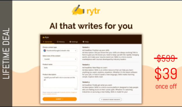 WAS AND NOW - Rytr Lifetime Deal for $39 WAS $599.00