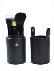 12 Pcs Goat Hair Black Make Up Brush Set  with Cylinder Tube