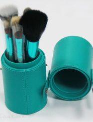 12 Pcs Goat Hair Green Make Up Brush Set with CylinderTube