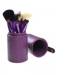 12 Pcs  Nylon Fiber Cosmetic Brush Set with Cylinder Tube