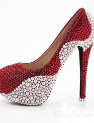 Aestheticism Red Rhinestone White Pearl Closed Toe Stiletto Heel Wedding Shoes