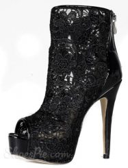 Black Lace Stiletto Heels Peep-toe Ankle Boots