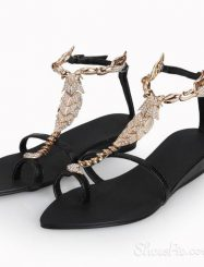 Black Open Toe Metallic Scorpion Flat Sandals