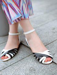 Classic  Peep Toe Black White Cross Strap Flat Sandals