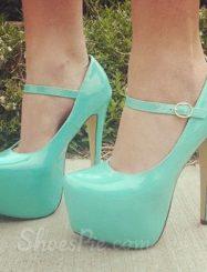 Elegant Blue Coppy Leather Platform Ankle Strap High Heel Shoes