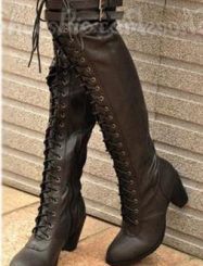 Fashion Casual Chunky Heels Over Knee High Boots