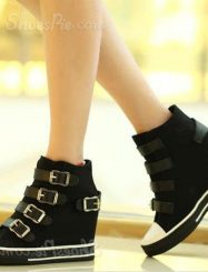 Fashionable Buckle High-Top Canvas Shoes