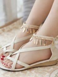 New Design Metal Decoration Flat Heels Sandals