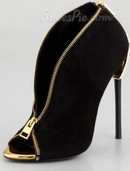 Sexy Black Suede High Heel Boots with Zipper Decoration
