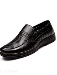 Shoespie Black Leather Hollow Evelet  Men's Sandals