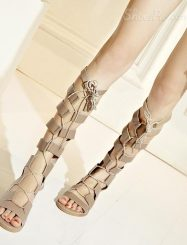 Shoespie Cut Out Lace Up Flat Gladiator Sandals