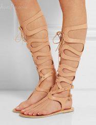 Shoespie Cut Out Lace up Flat Sandals