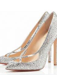 Shoespie Rhinestone Cross Design Stiletto Heels