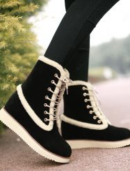 Shoespie Wedge Heel Lace Up Snow Boots
