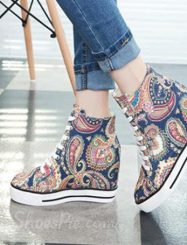 Special Flower Print Lace-Up Canvas Shoes