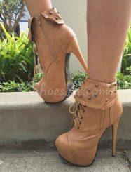 Striking Lace-up Rivets Design Platform Heels Ankle Boots